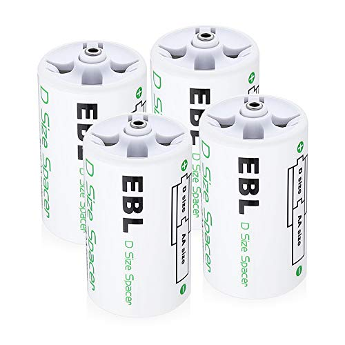 EBL D Size Rechargeable NiMH 2800mAh Batteries (4 Counts) Composed by AA to D Size Battery Spacer and Rechargeable AA 2800mAh Batteries