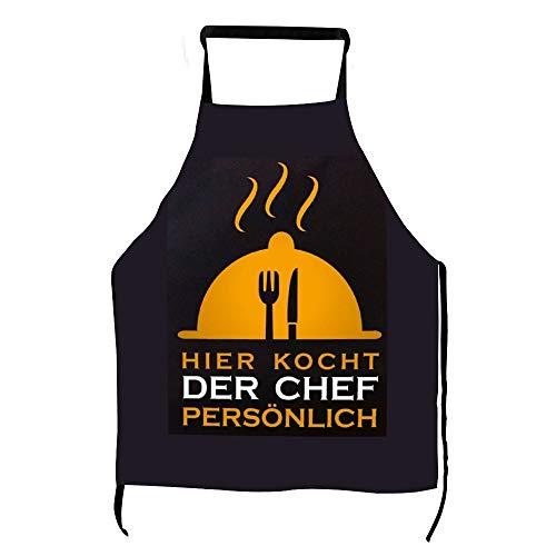 Lustige Hier Kocht Der Chef Persönlich Grillschürze Männer Frauen Kochschürze Latzschürze mit Taschen BBQ Aprons Kochen Backen Küche Gartenarbeit ly2nv6d8r17k