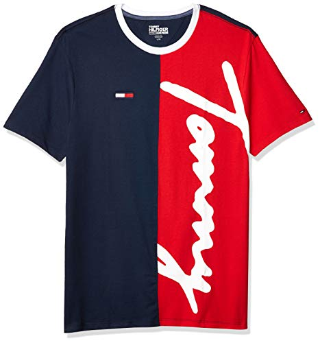 Tommy Hilfiger Men's THD Short Sleeve Logo T Shirt, Black Iris-Print/Old Skool Red