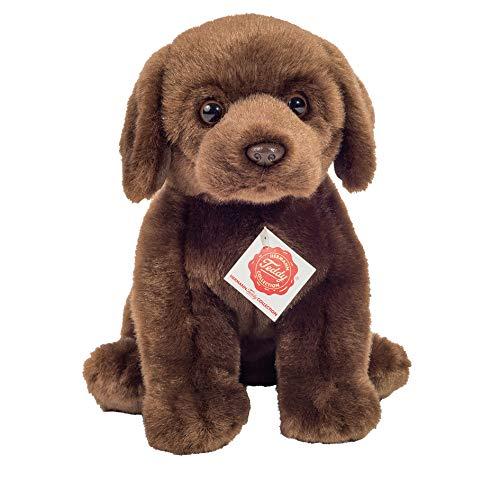 Teddy Hermann 91958 Hund Labrador sitzend Dunkelbraun 25 cm, Kuscheltier, Plüschtier