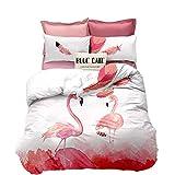Erosebridal Flamingo Comforter Cover Full Size Pink Flamingo Quilt Cover Animal Decor Bedding Set for Couple Teens Kids Quilt Cover Flower Bedspread Cover Romantic Style Comforter Cover for Women