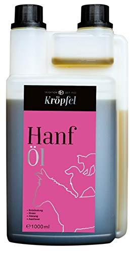 KRÖPFEL Premium Hanföl für Tiere - 1000ml hochwertiges Öl für Pferd, Hund, Katze - Reduktion von Stress - Nahrungsergänzung aus Hanf - entzündungshemmend - kaltgepresst