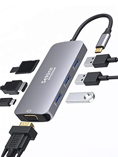 USB C Hub Selore 8 in 1 Adapter USB C auf HDMI 4K VGA Port Typ C PD 100 W 3 x USB 30 und SD Kartenlesung kompatibel mit MacBook ProMacBook Air 2018ChormeBookTablet USB C