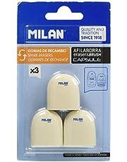 Milan BNM10258 - Pack de 3 gomas de recambio para afilaborra Capsule
