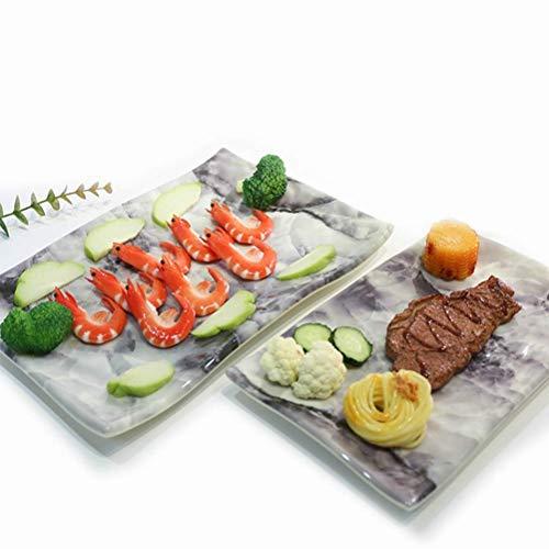 DUDDP Serviertablett Tablett Servier- / Dessertteller / -teller, 2er-Set, beständiges und widerstandsfähiges Melamin als Porzellan, großartige Größe for Obstdips, Snacks, Vorspeisen, rohes Gemüse, Sus