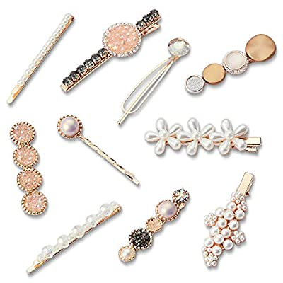 Fashion Hair Clips Set | 10pcs Cute Hair Clips-Styling Rhinestone Large Hair Clips For Thick Hair Perfect Hair Accessories For Women Girls Ladies. Pearl Hair Pins For Party Gift Daily Wedding Bridal.