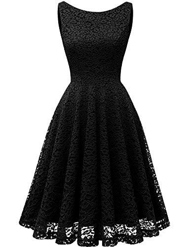Kleid Damen Damen Kleider Abendkleider Gelb kurz Rockabilly Kleider Damen Vintage Kleid Kleid Hochzeit gast cocktailkleid festliches Kleid mädchen Black L