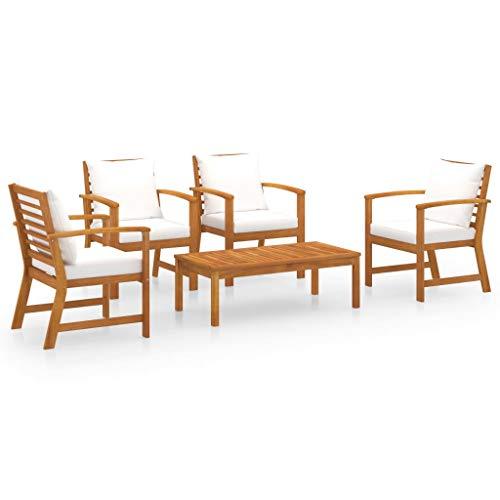 FAMIROSA Muebles de jardín 5 Piezas Cojines Madera Maciza de Acacia (42kg)-7790