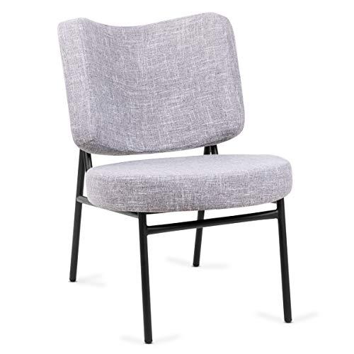 Mc Haus OSHA - Sillón Comedor de color Gris, Butaca Salón Tapizado en tela, Asiento Acolchado cómodo y patas de metal color Negro 62,5x56x81cm