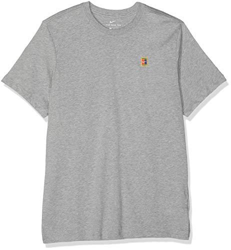 Nike Herren M NKCT Court EMB Tee T-Shirt, dk Grey Heather, S