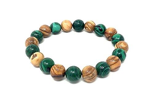 Armband aus echten Olivenholz Perlen 10mm natur und smaragdgrün eingefärbt – handgefertigt - Holzschmuck - Schmuck aus Holzperlen - auch als Fußkettchen tragbar