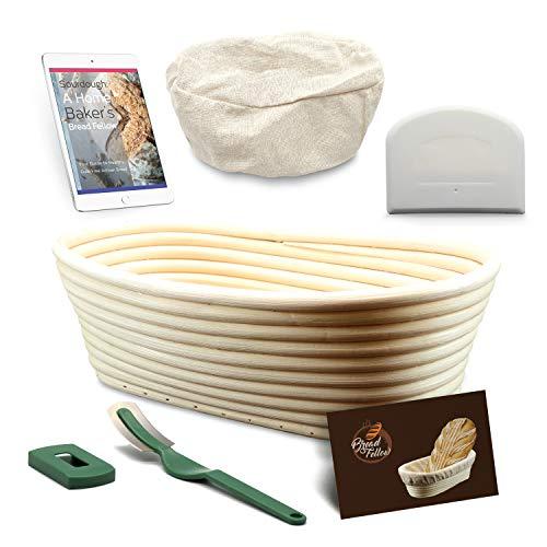 10 Inch Proofing Basket Oval Banneton Bread Basket - Bread Making Tools - Proofing Baskets for Sourdough Bread | Bread Scraper Dough | Bread Lame | Cloth Liner - Bread Baking Set