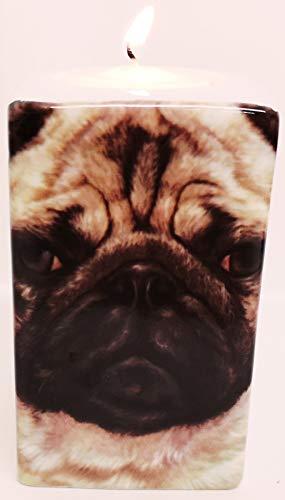 Pug Candle Holder Fine Bone China I Love Red Heart My Dog Tealight Hand Decorated UK
