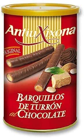 Barquillos de Turrón al Chocolate, Caja o Pack de 2,4 KG (12 latas x 200 gramos) - Barquillo de galleta crujiente bañada de Chocolate y relleno de intenso Turrón. Antiu Xixona Receta Original.
