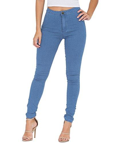 JYONE EASTDAMO Frauen-Ausdehnung-hohe Taille dAnne Jeggings dAnne Jeans, BlauLight Blue, M