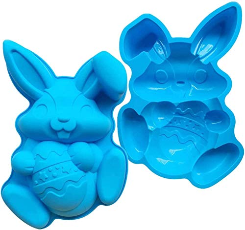 Stampo in silicone per uova di coniglio pasquali, di grandi dimensioni, per fondente e cioccolato, strumento di cottura per la casa, panifici pasquali, decorazioni pasquali, 30,4 x 19,6 x 5,2 cm