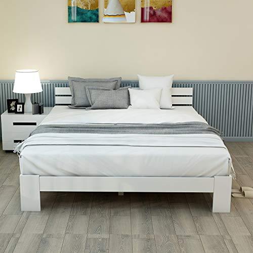 ModernLuxe Massivholzbett Doppelbett mit Kopfteil und Lattenrost,140 x 200 cm Holzbett,FSC Massiv Doppelbett als Ehebett verwendbar, als Seniorenbett geeignet, Komfortbett mit Rückenlehne (Weiß)