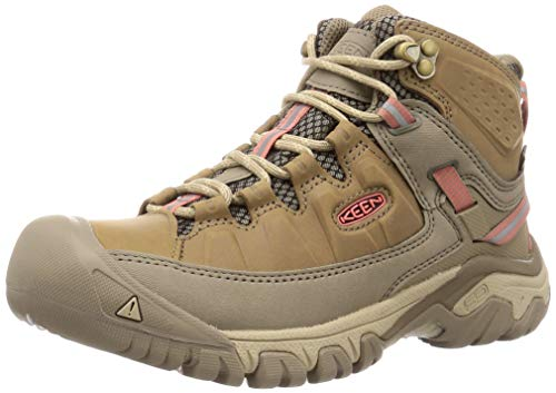 KEEN Women's Targhee 3 Mid Waterproof Hiking Boot, Safari/Coral, 7.5