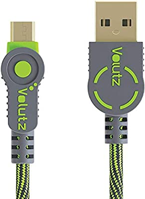 Volutz Fast Charging Micro USB Cable for Sony Playstation 4 Wireless Controller DualShock/PS Vita/ PS4 Pro / PS4 Slim, Durable Nylon Braided Cords for Samsung, Nexus, Kindle, HTC, LG