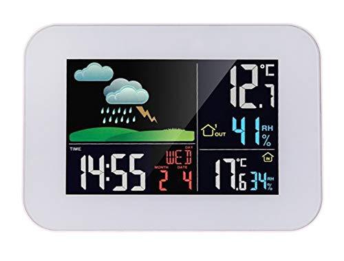 YPJKHM Drahtlose Wetterstation, von hinten beleuchtete Wetterstation mit Farbbildschirm, drahtloses elektronisches Haushaltsthermometer, Feuchtigkeitswanduhr für Innen- und Außenluft