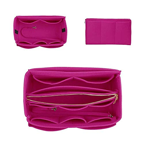 XUCZHAI Toiletry Bag Travel Make Up Organizer Insert Bag For Handbag, Felt Bag With Zipper, Travel Inner Purse, Fit Cosmetic Bags Fit Various Handbags (Color : Rose Red, Size : 26x15x15cm)