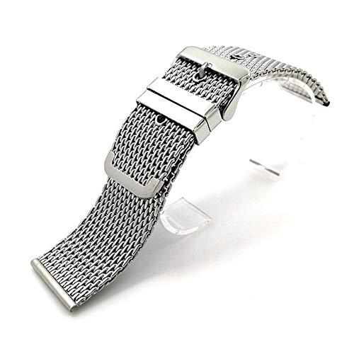 YWSZY Bucle de la Correa de muñeca 18 mm 24 mm 20 mm 22 mm de Acero Inoxidable Universal Venda de Reloj de Pulsera de la Hebilla del cinturón Correa de Reloj (Color : Silver, Size : 18mm)