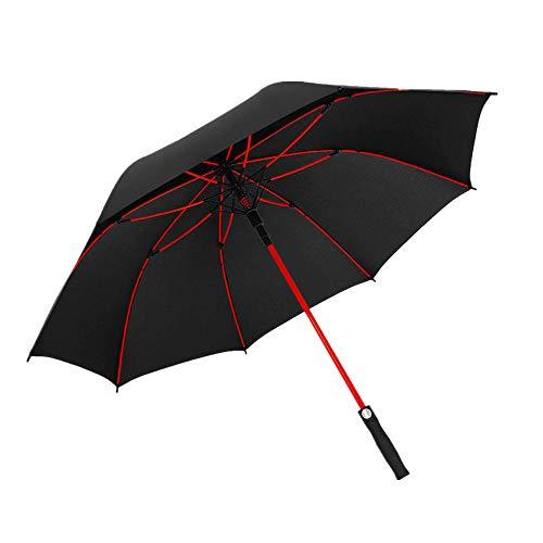 Paraguas de mango largo de gama alta para hombres, paraguas de polo de negocios, paraguas publicitario, paraguas de golf-negro