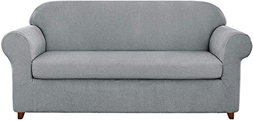 erddcbb Funda de sofá de Jacquard granulado de 2 Piezas, Funda de sillón de Spandex de Alta Elasticidad, Protector de Muebles de Moda, Abrigo de cojín elástico Reutilizable (Gris Claro, 2 plazas/s