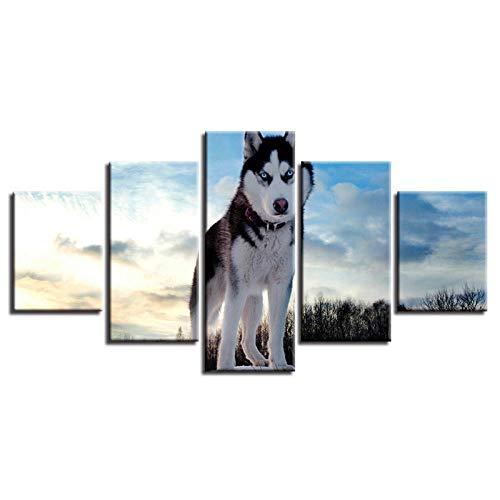 IGZAKER Wall Art Senza Cornice Tela Dipinti HD Stampa 5 Pezzi Animale Cane Husky Immagini Decorazione della Casa per Soggiorno Poster @ 30X40,30X60,30X80Cm