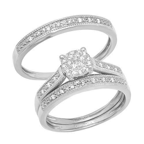 DazzlingRock Collection 10 quilates oro blanco redonda IJ Diamante blanco