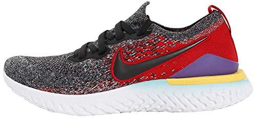 Nike Men's Epic React Flyknit 2 Track & Field Shoes, Multicolour (Black/Black/Hyper Jade/University Red 7), 7.5 UK