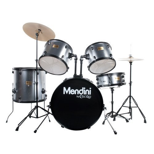 Mendini by Cecilio Complete Full Size 5-Piece Adult Drum Set w/Cymbals Pedal Throne Sticks, Metallic Silver MDS80-SR
