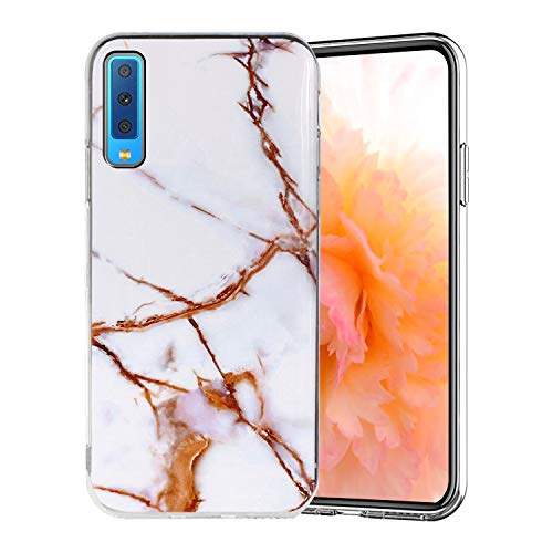 Misstars Coque en Silicone pour Galaxy A7 2018 Marbre, Ultra Mince TPU Souple Flexible Housse Etui de Protection Anti-Choc Anti-Rayures pour Samsung Galaxy A7 2018 / A750, Blanc Or