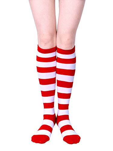 URATOT 1 Pair Halloween Striped Knee High Socks Halloween Cosplay Costume Red and White Stripe Stockings for Child and Adult