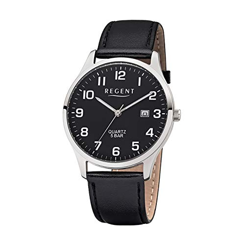 Regent Herren-Armbanduhr Elegant Analog Leder-Armband schwarz Quarz-Uhr Ziffernblatt schwarz UR1113406