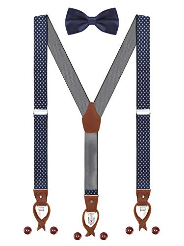 Herren Hosenträger Fliege Set 2 WAY TO WEAR 6 Leder Knopfloch 3 Clips Y-Form 3,5cm Breit Verlängerte Hosenträger für Körpergröße 160-200cm - Dunkelblau Weiß Kariert