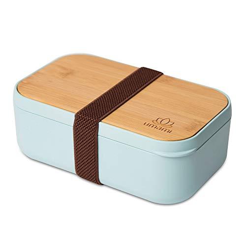 Umami® ⭐ Lunch Box Écologique - en Fibre De Bambou - 4 Couverts Inclus - Boîte Bento Japonaise Hermétique - Zéro Déchet - Micro-Ondes & Lave-Vaisselle - sans BPA - Garantie 5 Ans - Marque Française