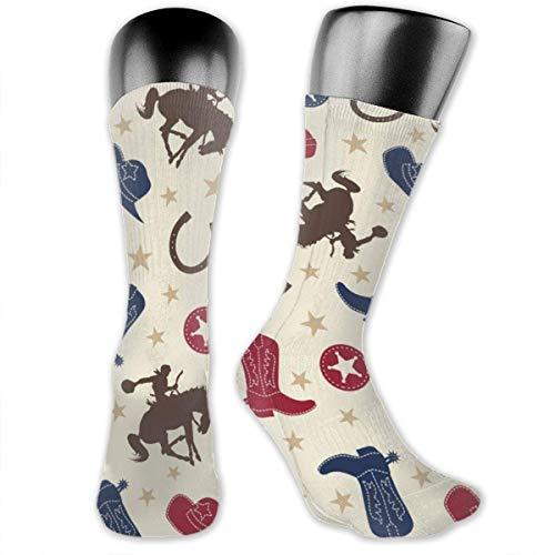 huatongxin 3d rojo y azul West Cowboy Hat Boots Crazy Design Soft & Stretchy Novedad Calcetines para hombres,mujeres y niños