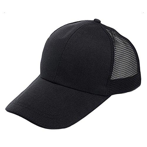 Gorra de béisbol unisex TREESTAR de color simple de estilo hip hop, con diseño de cuadrícula trasera ajustable, para turismo al aire libre, visera, 1 unidad., algodón, negro, 55-60CM