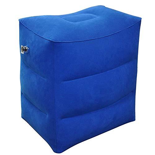 Leg Pillow - Inflatable Travel Kissen Fuß, Beinauflage Kissen für Kinderbett, Fußstütze für Flugzeuge, Autos, Busse, Züge, Luft Fußkissen, Reisekissen. (Color : Blue)