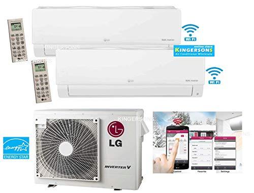 LG 2 TON 24000 BTU SEER 22 Dual Zone 12K + 12K Heat and Cool Mini Split AC Heat Pump System Energy Star with Built in WiFi