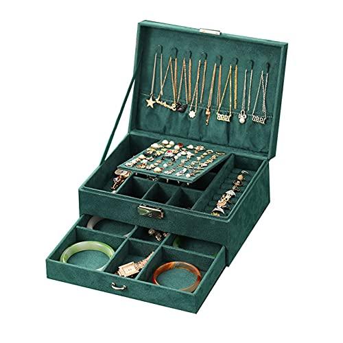 JSSS Joyero apilador de 2 capas organizador de joyas para pendientes, anillos, pulseras, collares, organizador de joyas esmeralda