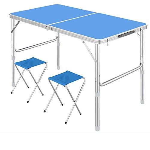 Mesa plegable de aleación de aluminio de 3 pies mesa al aire libre mesa de picnic portátil, mesa de camping 90x60x70cm mesa plegable mesa de picnic azul (2 taburetes de tela)