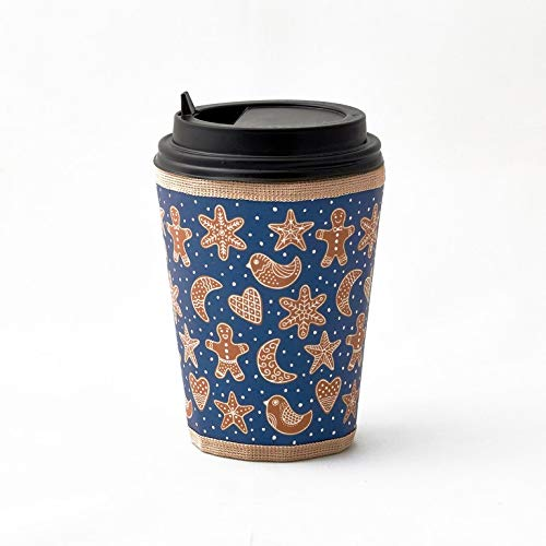 HANDMADE Reusable X-mas Excellence cup sleeve free Gingerbread drinks hot for co