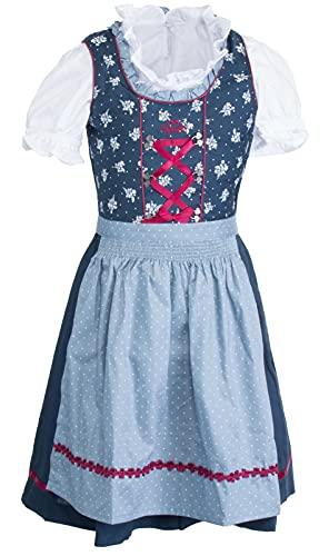 Brandsseller Mädchen Kinder Dirndl 3er Set Trachten Kleid - Schürze - Bluse Blau Größe 158/12-13 Jahre