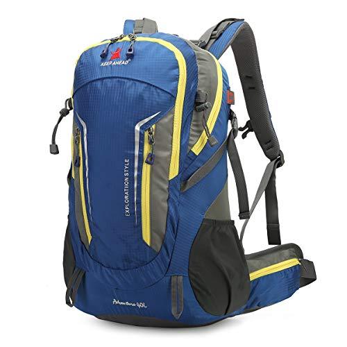 LOCAL LION Trekkingrucksack Wanderrucksack 40L Wasserdichter Rucksack Reiserucksack für Erwachsene mit Regenhülle für Outdoor Camping Klettern Reisen blau