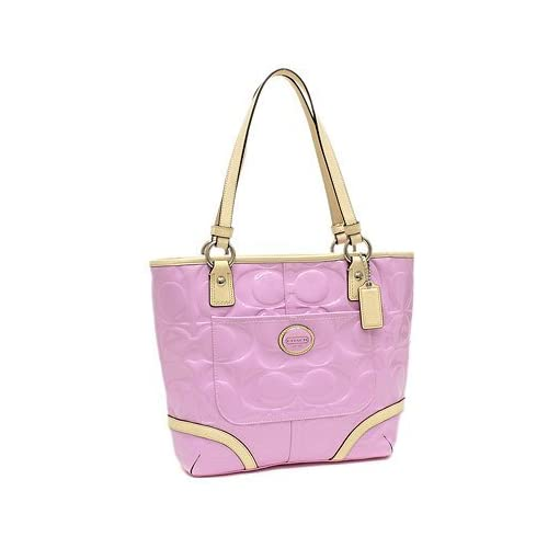 fc37ba400e Coach 22322 Peyton Orchid   Tan Embossed Patent Leather Tote