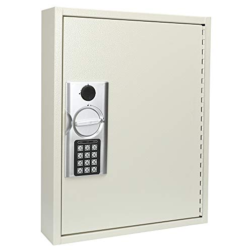 KYODOLED 60 Key Cabinet with Digital Lock,Lock Box with Code Wall Mounted,Metal Steel Key Safe,Large Storage Cabinet Boxes for House Key,12.99'' X 17'' X 2.55'' White 60 Keys