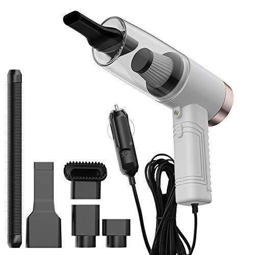 Huante Aspiradora de coche de 12 V 120 W en seco húmedo de doble uso portátil para coche de alta potencia 3 en 1 lámpara de aromaterapia, color blanco