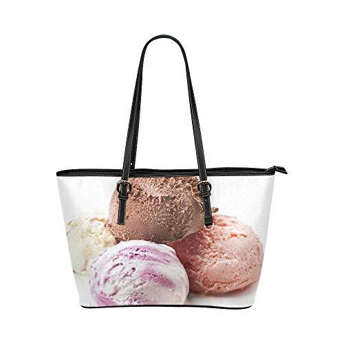 Rosa Erdbeer Eiscreme Ball Sommer großes weiches Leder tragbarer Handgriff Handhandtaschen Taschen kausale Handtaschen mit Reißverschluss Schulter Einkaufen Geldbeutel Gepäck für Dame Girls Womens